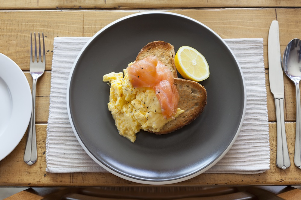 Scrambled Eggs and Smoked Salmon on Toast