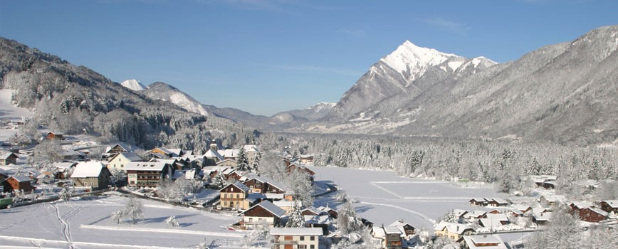 Winter ski chalets the Alps